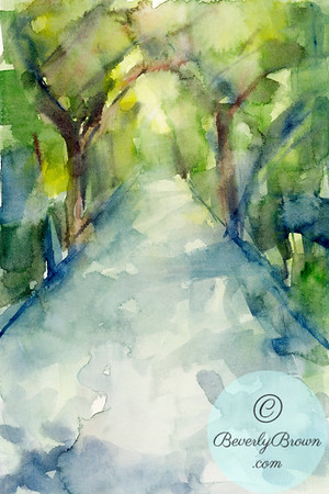 A watercolor painting of a sun dappled tree lined walkway through the Conservatory Gardens in Central Park, New York City.