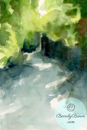 A watercolor painting of sunlight streaming through lush summer foliage in the Conservatory Gardens in Central Park, New York City.
