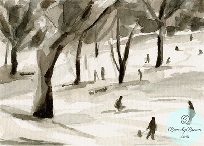 Sledding in Central Park  - Beverly Brown Artist