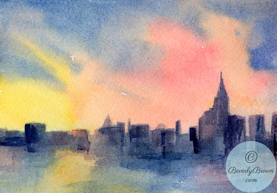 Manhattan Skyline - Pink, Yellow, Blue  - Beverly Brown Artist