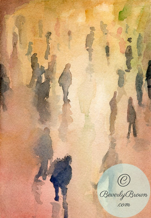 People walking through Grand Central Terminal  - Beverly Brown Artist