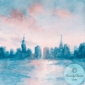 New York Skyline Coral + Aqua