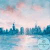 New York Skyline Coral + Aqua