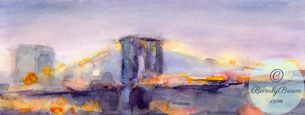 Brooklyn Bridge at dusk  - Beverly Brown Artist