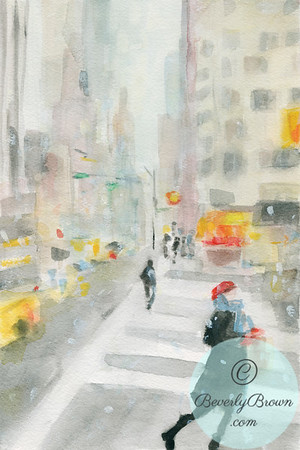 Snowstorm West 57th Street NYC - Beverly Brown Artist
