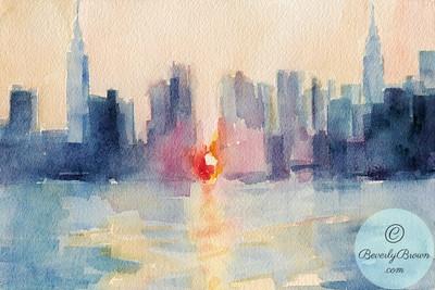 Manhattanhenge - Watercolor Painting  - Beverly Brown Artist
