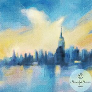 NYC Skyline Blue & Yellow - Beverly Brown Artist