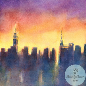 New York Skyline Sunset After the Rain - Beverly Brown Artist