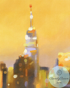 Empire State Building Gold and Lavender - Beverly Brown Artist