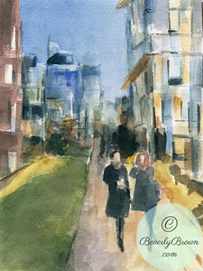 Couple Walking on the New York High Line - Beverly Brown Artist