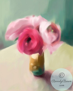 A digital iPad painting of pink Ranunculus flowers in a vase. © Beverly Brown.