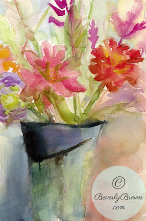 Vase of zinnias  - Beverly Brown Artist