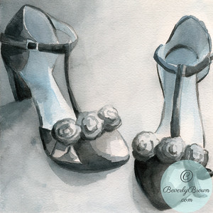 Black t-strap shoes  - Beverly Brown Artist