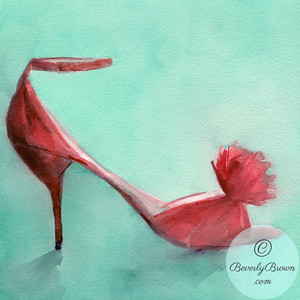 Red high heel shoe  - Beverly Brown Artist
