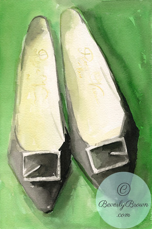 A watercolor fashion illustration of a pair of vintage 1960s Roger Vivier black shoes on a green background.
