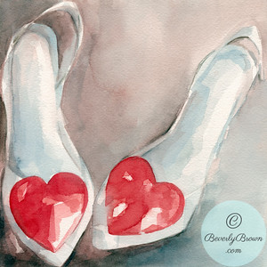 White shoes with hearts  - Beverly Brown Artist