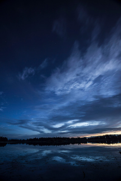 Sunset and first Stars, Cranberry Lake, Deception Pass State Park, Washington