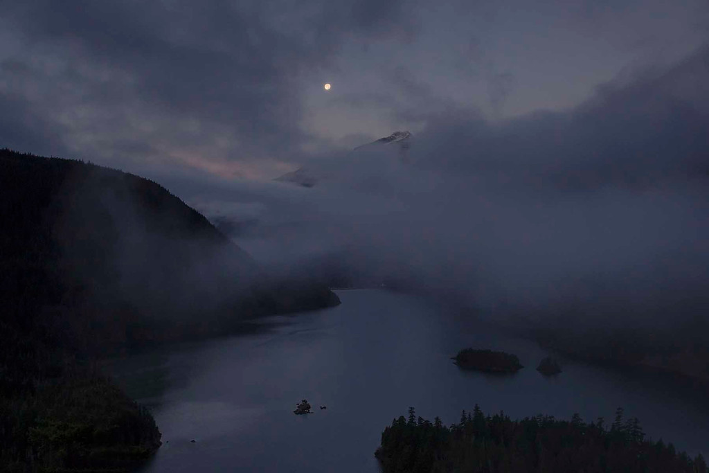 Moon Set at Sun Rise, Diablo Lake, North Cascades National Park, Washington
