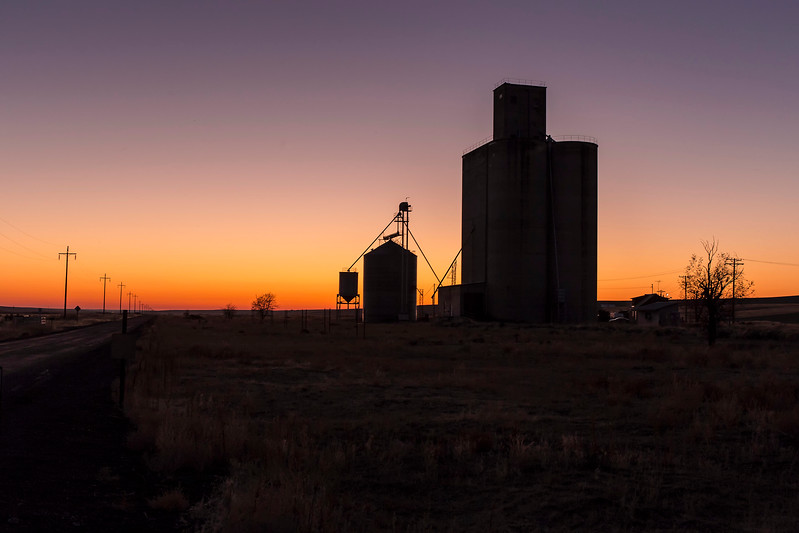 Grain Elevator and Sunset, Ralston, Washington