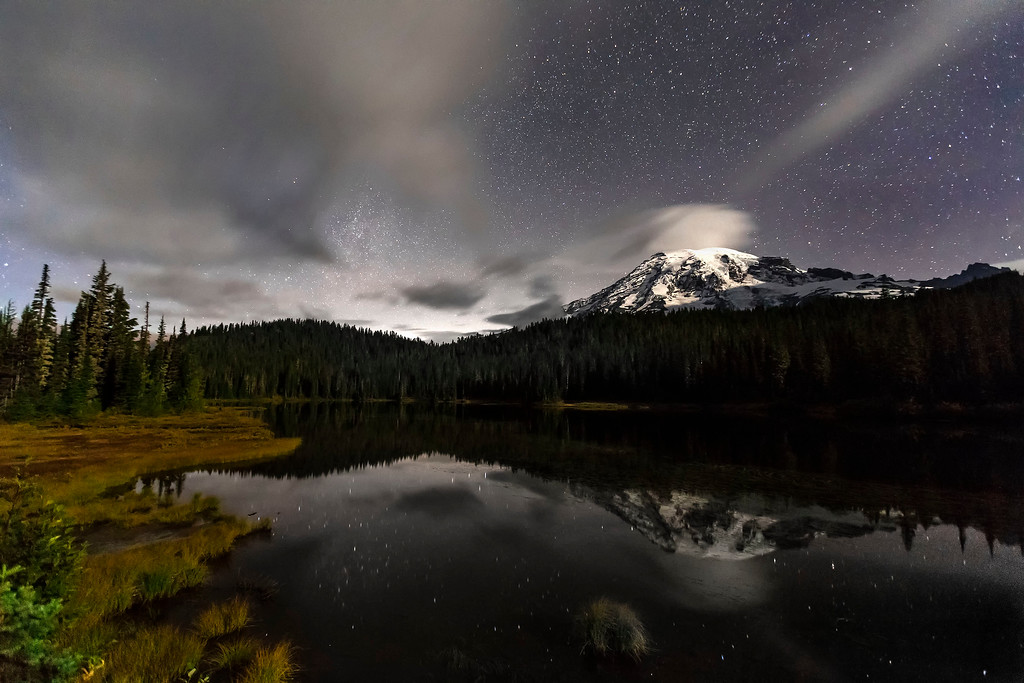 Mt Rainier, Stars and Reflection Lake, Mt Rainier National Park, Washington