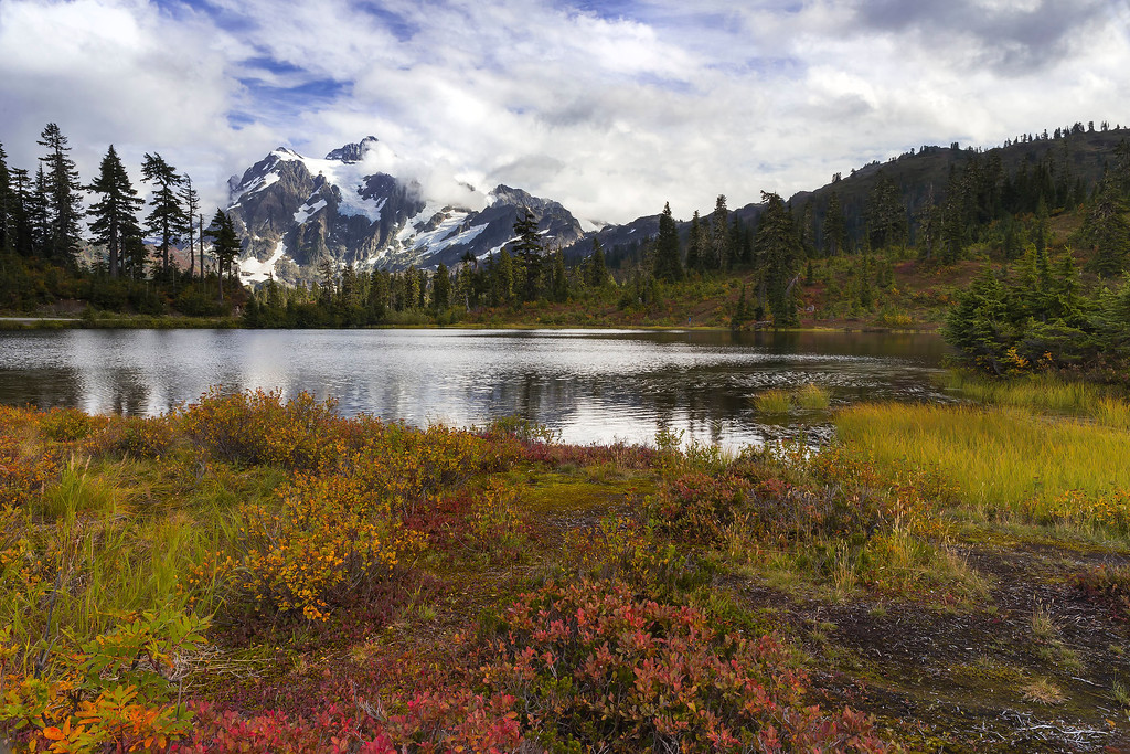 Mt Shuksan at Picture Lake in fall, Mt Baker, Washington
