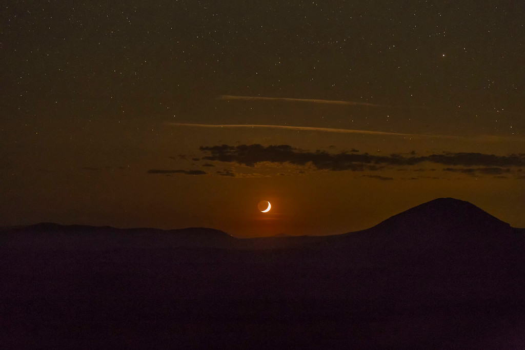 Crescent moon setting, Lava Beds National Monument, CA