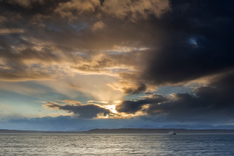Stormy sunset, looking towards the Olympic Mountains, Edmonds, WA