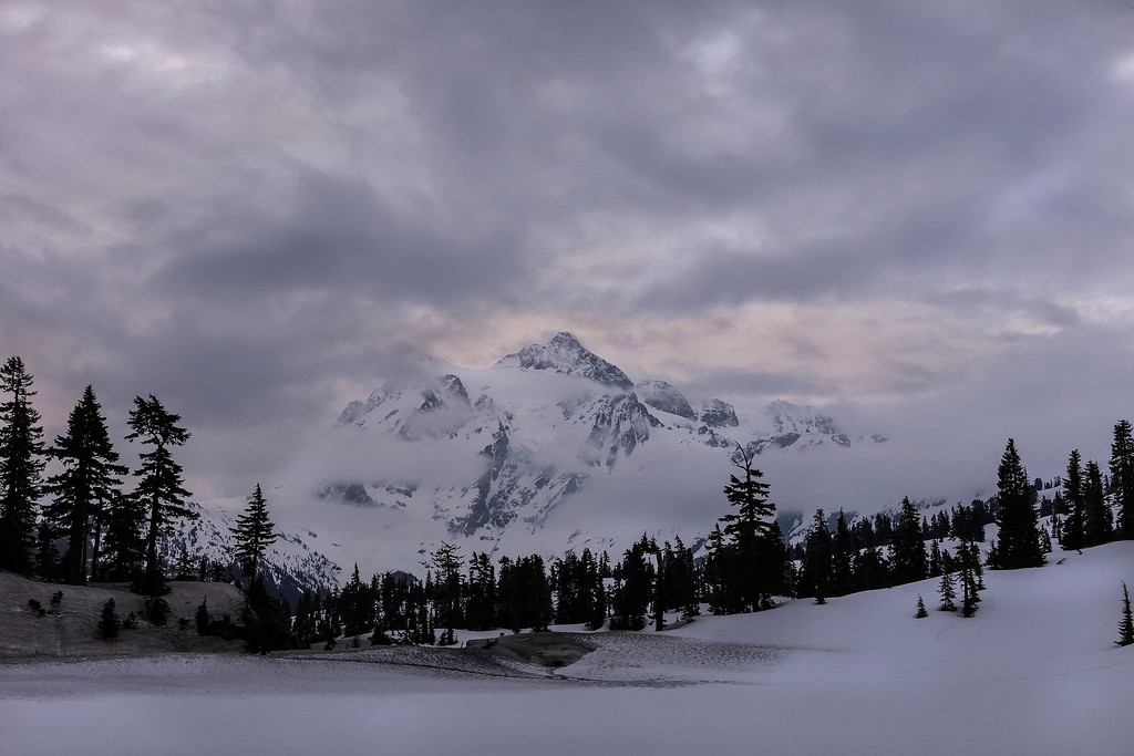 The calendar says spring, but the scene says winter; Mt Baker ski area, North Cascades, WA