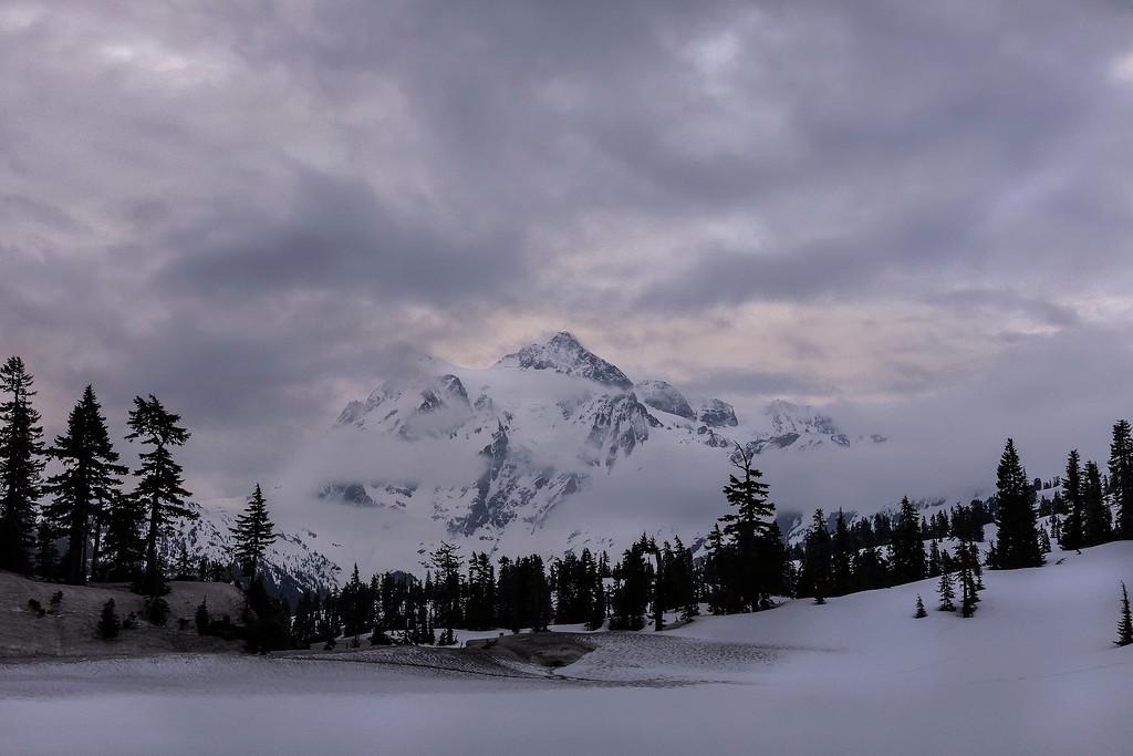The calendar says spring, but the scene says winter; Mt Baker ski area, North Cascades, WA