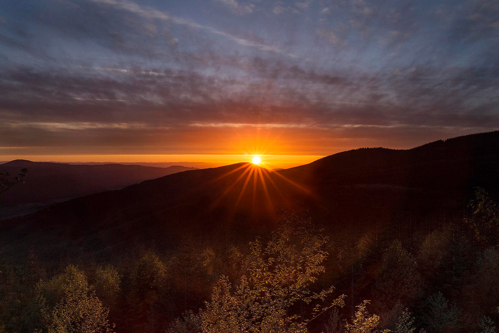 Sunset from Hwy to Mt St Helens National Monument, Washington