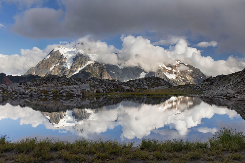 Mt Shuksan reflected in tarn, near Artists Point, Mt Baker, Washington