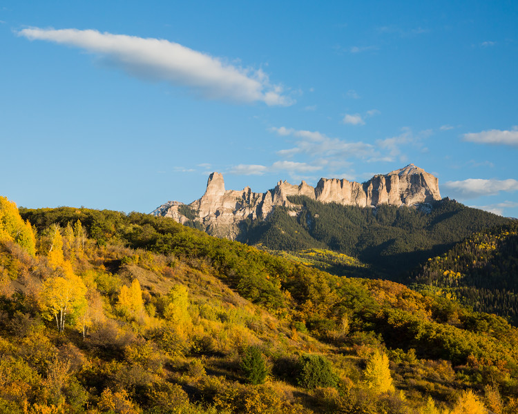 Chimney Rock and Courthouse Mountain in fall. Taken in the Uncompahgre National Forest, Colorado, USA.