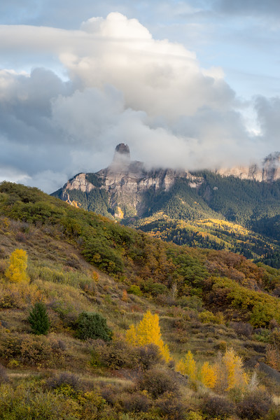 Chimney Rock and Courthouse Mountain. Taken in the Uncompahgre National Forest, Colorado, USA.