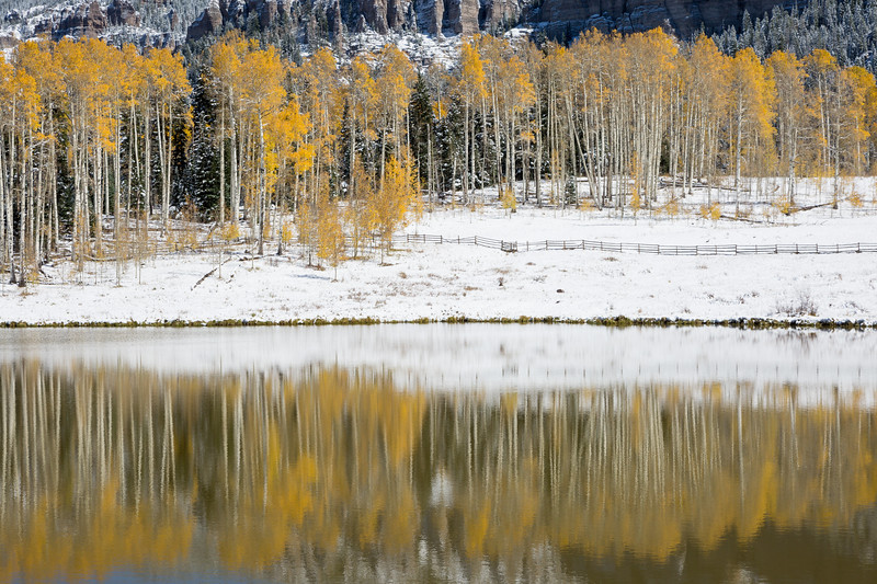 Reflections on Rowdy Lake after a snow. Taken in the Uncompahgre National Forest, Colorado, USA.