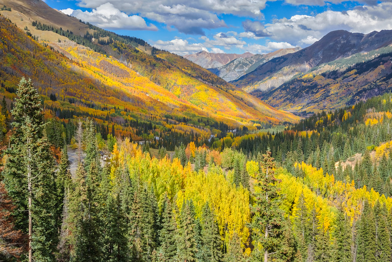 Fall scenery on Red Mountain Pass, also known as the Million Dollar Highway. Taken in Colorado, USA.