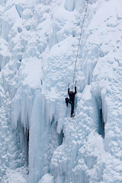 An ice climber at the Ouray Ice Park, Colorado, USA.