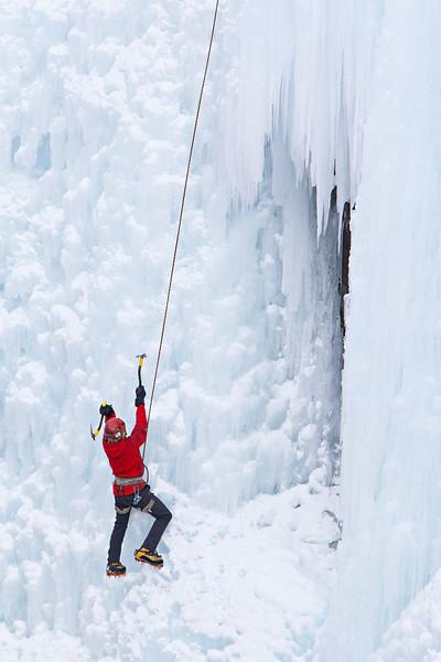 """Daring""<br /> <br /> An ice climber at the Ouray Ice Park, Colorado, USA."