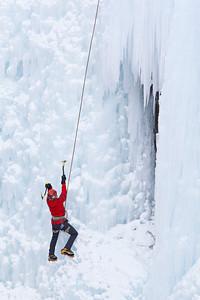 """Daring""  An ice climber at the Ouray Ice Park, Colorado, USA."