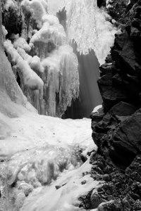 """Zapata Falls""  This is a black and white image."