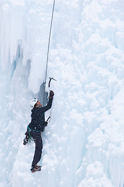 """""""In A Spray of Ice""""<br /> <br /> This guy was really fun to watch, as he used his ice tools and crampons to carefully make his way up the ice face. Taken at the Ouray Ice Park, Colorado, USA."""