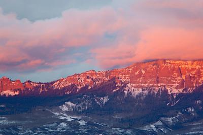 """Winter Day's End""  A vivid winter sunset. Taken along Owl Creek Pass near Ridgway, Colorado, USA."