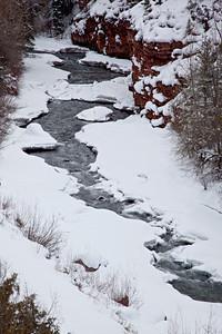 The San Miguel River in winter. Taken near Telluride, Colorado, USA.