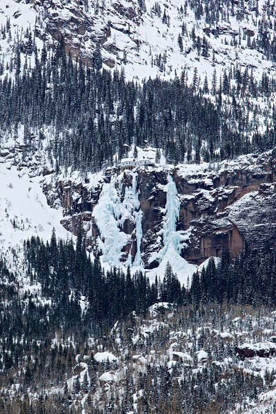 Winter at Bridal Veil Falls in Telluride. The powerhouse sits atop the tallest waterfall in Colorado at 365 feet.