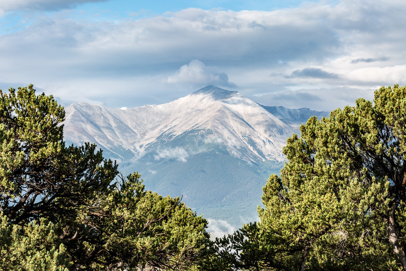 A first snow fell on Collegiate Range of Colorado on August 26, 2016. This is Mt. Princeton, 14197  in elevation.