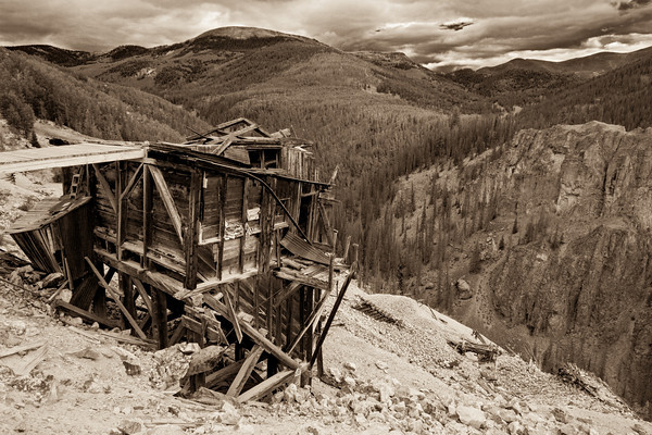 """Last Chance""<br /> <br /> I jeeped with a friend around the Bachelor Loop near Creede, Colorado. We ""chanced"" upon The Last Chance Mine and this historic structure. Had some fun that day and then again while processing this image, coming up with a custom split toning preset in Lightroom to give the scene an antique character. Taken in the Rio Grande National Forest, Colorado, USA."