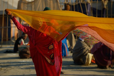 behind a flying saree