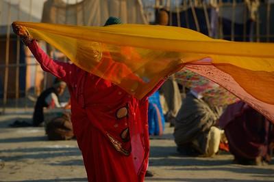behind a flying saree