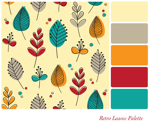 Retro leaves palette