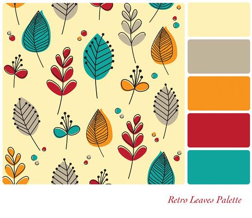 Retro leaves palette