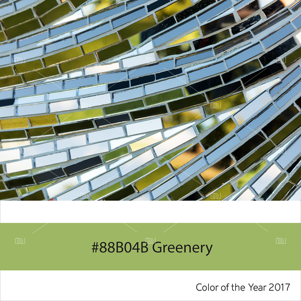 Greenery, color of the year - Abstract glass mosaic